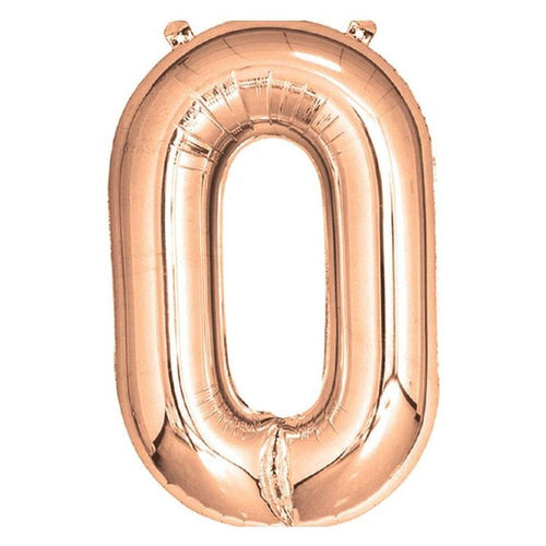 Rose Gold Giant Foil Number Balloon - 0 - The Party Room