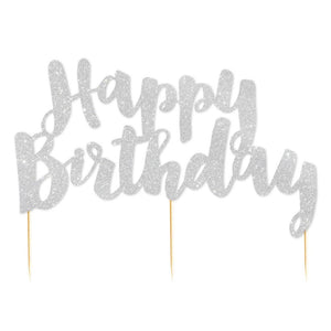 Silver Glitter 'Happy Birthday' Cake Topper - The Party Room
