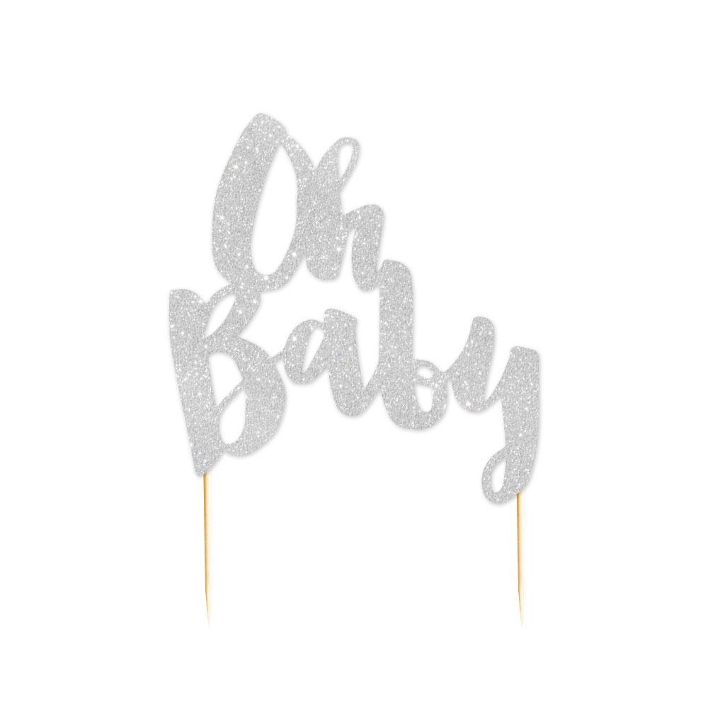 Silver Glitter 'Oh Baby' Cake Topper - The Party Room
