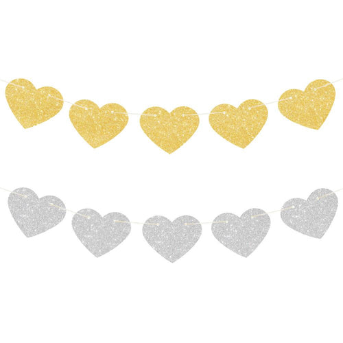 Gold & Silver Glitter Heart Reversible Garland - The Party Room