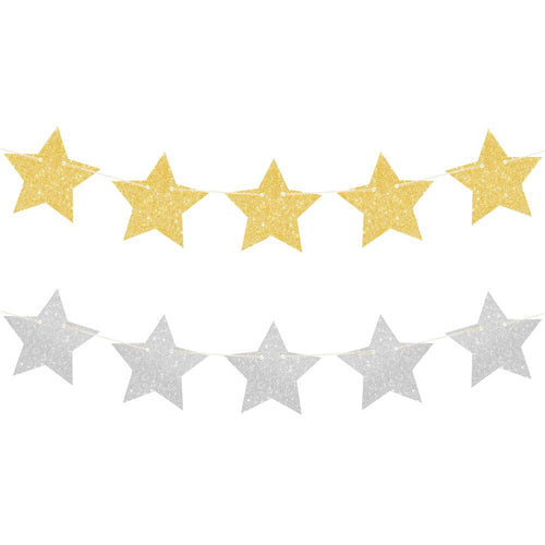 Gold & Silver Glitter Star Reversible Garland - The Party Room