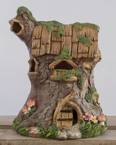 FAIRY TREE TRUNK HOUSE WITH LED 15CM - 6150