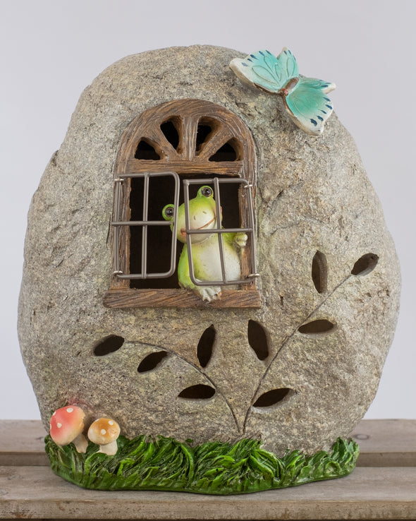 FROGGYS STONE HOUSE SOLAR LIGHT - 6151
