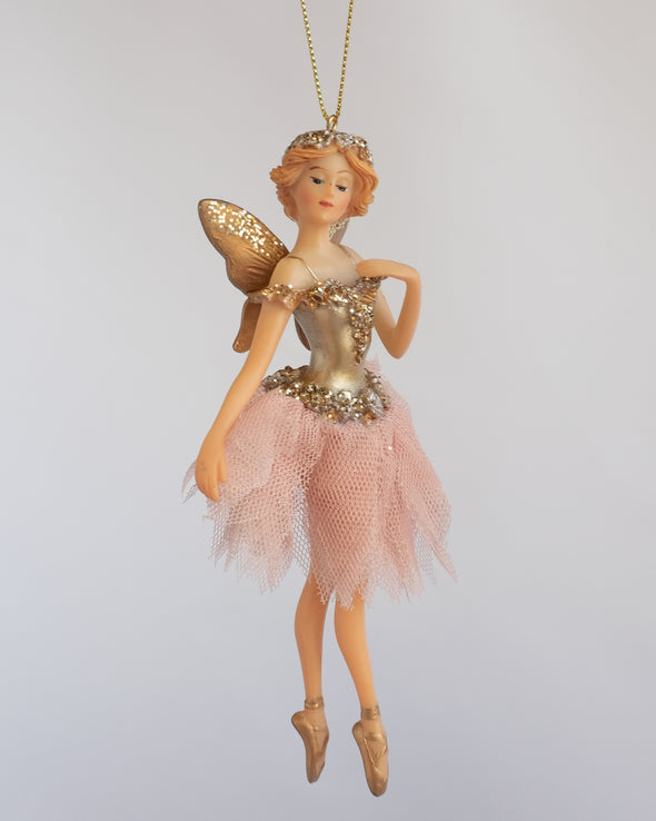 FAIRY WITH TULLE SKIRT GOLD/PINK 16CM - 6337