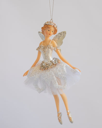 FAIRY WITH TULLE SKIRT WHITE SILVER 16CM - 6338