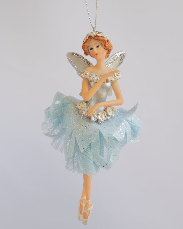 FAIRY WITH TULLE SKIRT WHITE GREY 16CM - 6339 (Box of 6)