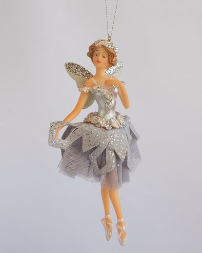 FAIRY WITH TULLE SKIRT GREY 16CM - 6340