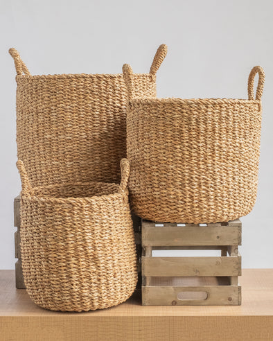 BASKETS ROUND WITH HANDLE S/3 - 6772