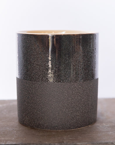 SANDGLAZED STONE POT BLACK - 6840BK