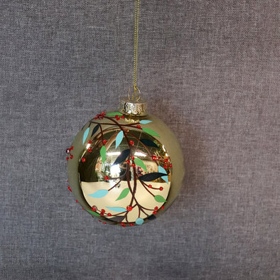 GLASS BALL MISTLETOE GOLD/GREEN 100MM - XX8737