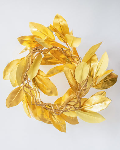 HEAVY METAL MAGNOLIA LEAF WREATH 60CM - XX8730 (Box of 2)