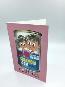 An illustrated retro style card with creamola foam drawn on it
