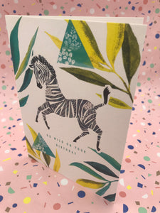 A geometric design with an illustrated zebra