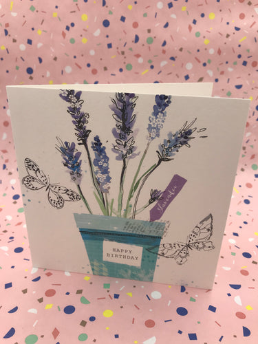 A pretty floral card with lavender on the front