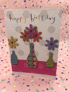 Illustrated card with bright flowers