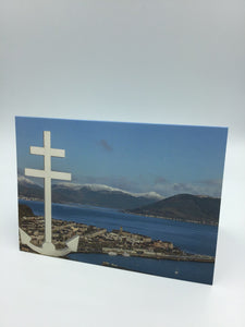 Cross of Lorraine Greenock, looking over Gourock and Snow capped Argyll Hills