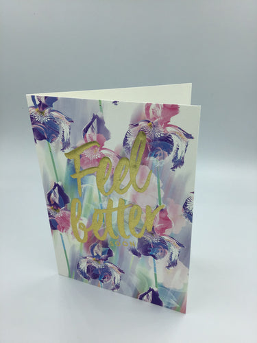 Floral card with feel better soon