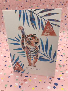 A geometric designed card with a quirky tiger illustration