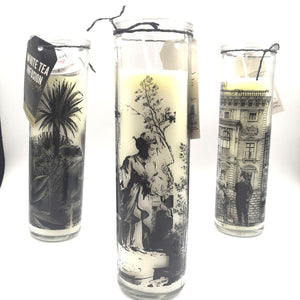 Monochrome Tall Glass Candle