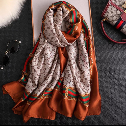 Gee Scarf Beige and burnt orange