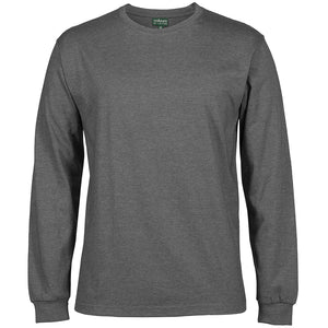 The Rib Crew Neck Tee | Mens | Long Sleeve | Charcoal Marle