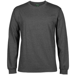 The Rib Crew Neck Tee | Mens | Long Sleeve | Graphite Marle
