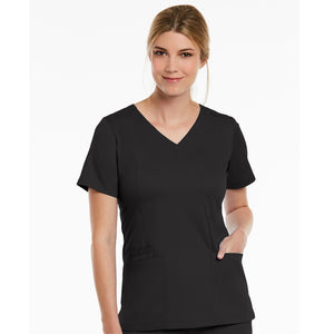 Matrix Double V Neck Top | Black