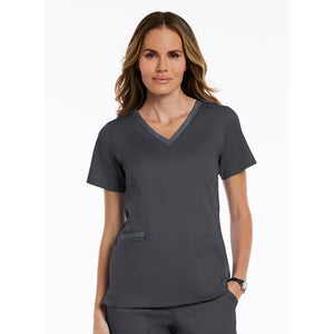 Matrix Double Contrast Top | Pewter