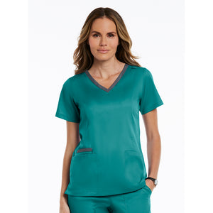 Matrix Double Contrast Top | Teal