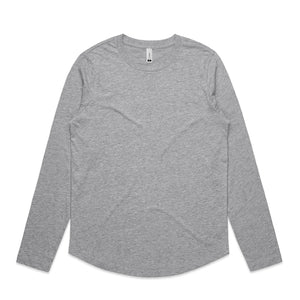 The Curve Tee | Ladies | Long Sleeve | Grey Marle