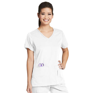 4 Pocket V Neck Top | Greys Anatomy | White