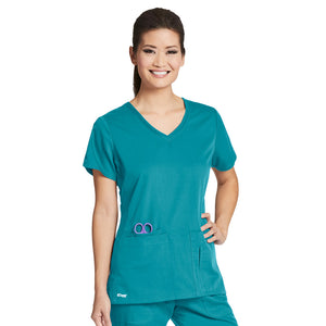 4 Pocket V Neck Top | Greys Anatomy | Teal