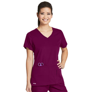 4 Pocket V Neck Top | Greys Anatomy | Wine