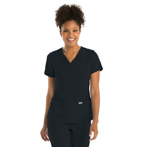 3 Pocket Mock Wrap | Greys Anatomy | Black