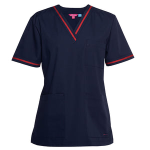 The Contrast V Neck Scrub Top | Ladies | Navy/Red