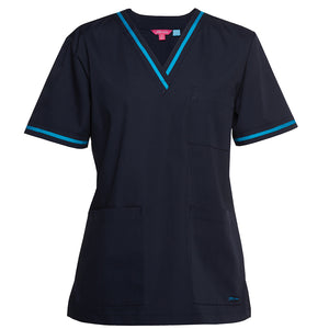 The Contrast V Neck Scrub Top | Ladies | Navy/Aqua