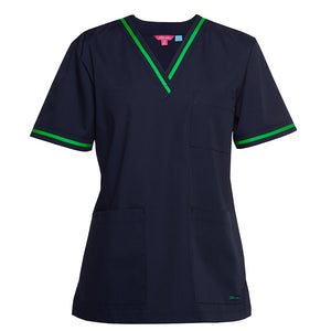 The Contrast V Neck Scrub Top | Ladies | Navy/Pea Green