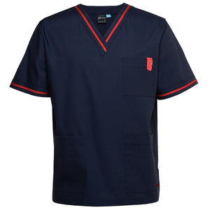 The Contrast V Neck Scrub Top | Mens | Navy/Red