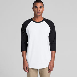 The Raglan Tee | Mens | 3/4 Sleeve | White/Black