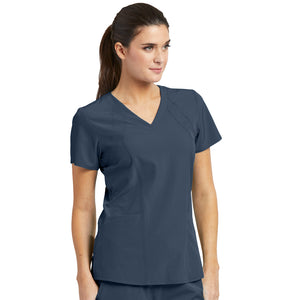 4 Pocket Racer Scrub Top | Steel