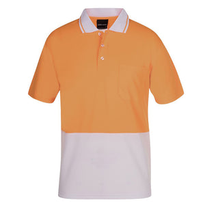 The Non Cuff Hi Vis Polo | Mens | Short Sleeve | Orange/White