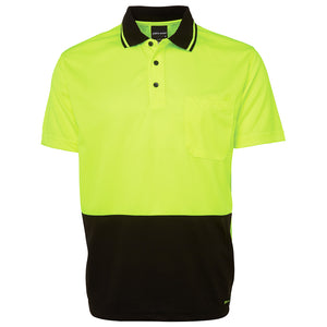 The Non Cuff Hi Vis Polo | Mens | Short Sleeve | Lime/Black