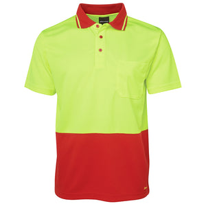 The Non Cuff Hi Vis Polo | Mens | Short Sleeve | Lime/Red