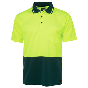 The Non Cuff Hi Vis Polo | Mens | Short Sleeve | Lime/Bottle
