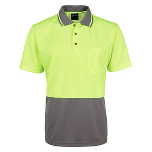 The Non Cuff Hi Vis Polo | Mens | Short Sleeve | Lime/Charcoal