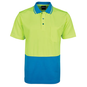 The Non Cuff Hi Vis Polo | Mens | Short Sleeve | Lime/Aqua