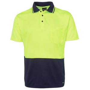 The Non Cuff Hi Vis Polo | Mens | Short Sleeve | Lime/Navy