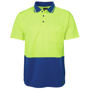 The Non Cuff Hi Vis Polo | Mens | Short Sleeve | Lime/Royal