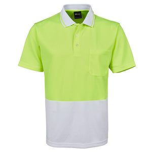 The Non Cuff Hi Vis Polo | Mens | Short Sleeve | Lime/White