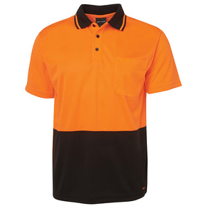 The Non Cuff Hi Vis Polo | Mens | Short Sleeve | Orange/Black